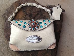 Cell PURSE Clutch White Hair LEATHER Austrian Crystal NWT~BEAUTIFUL!!