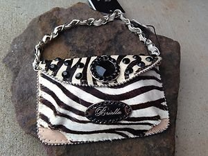 Zebra Print Clutch Cell PURSE GENUINE LEATHER With Austrian Crystal NWT~