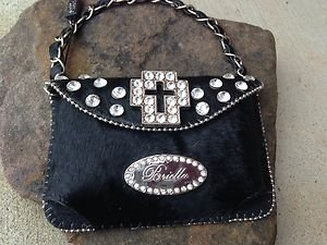 Black CrossClutch Cell PURSE GENUINE LEATHER & Austrian Crystal Heart NWT~Cute!!