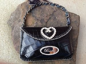 Black Heart Clutch Cell PURSE GENUINE LEATHER & Austrian Crystal NWT~adorable!