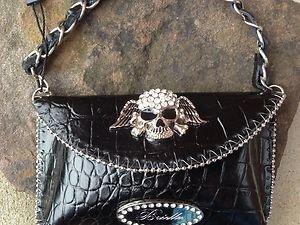 Black Scull Clutch Cell PURSE GENUINE LEATHER & Austrian Crystal NWT~adorable!
