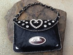 Cell PURSE GEN LEATHER & Hair on Hide & Austrian Crystal Heart NWT~BEAUTIFUL!!