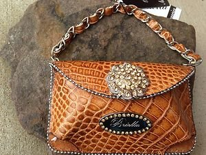 Clutch Cell PURSE GENUINE LEATHER & Gold Austrian Crystal NWT~BEAUTIFUL!!