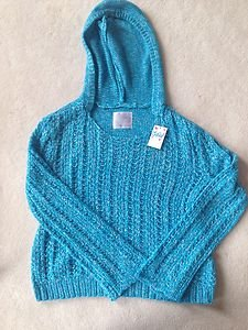 Girls Justice Clothes~Teal Hooded  Pullover Sweater~Girls Size 12~NWT!! Cute!!