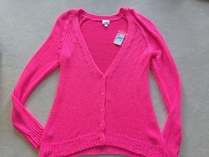 Justice Hot Pink CARDIGAN Sweater ~~Girls Size 18-ADORABLE!!