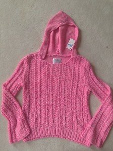 Justice Pink Hooded  Pullover Sweater Pink~Girls Size 12 NWT!! Cute!!
