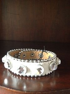 White Bracelt with Bling Gen Leather Adjustable Snap Cuff~ NWT Very Pretty