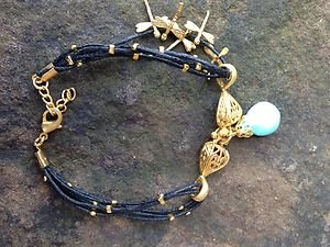 Turkish Jewelry Turkish Charm Bracelet  Black Calf Leather and Turquoise 24k GP