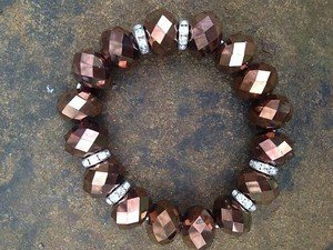 BRONZE  BRACELET~genuine Crystal VERY PRETTY~aWeSoMe DEAL!