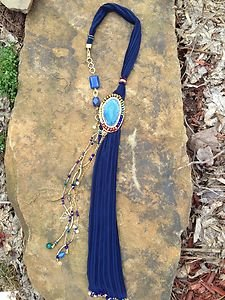 Turkish Necklace~Scarf Blue Adorned With Semi Precious Gemstones One Of A Kind!