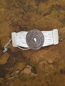 Turkish Jewelry Bracelet ~Zamac Hand  Made In Turkey~White Cuff NWT Turkey
