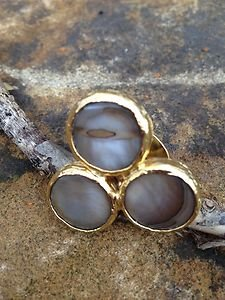 Turkish Jewelry~Triple Stone Ring~Genuine Mother Of Pearl Adjustable NWT~