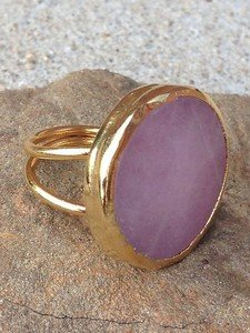 Turkish Jewelry-PINK JADE RING ~24K PLATED~GORGEOUS!! NWT! ADJUSTABLE