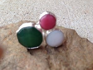 Turkish Ring with Triple Stones~Made with Genuine Jade~ Handmade In Turkey!!