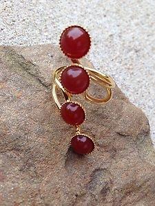 Turkish Jewelry Orange Agate RING 24K PLATED~Hand  Made In Turkey~NWT~BEAUTIFUL