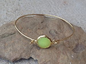 TURKISH JEWELRY~LIME JADE BRACELET~DIPPED IN 24K GOLD OVER BRASS~Made in Turkty