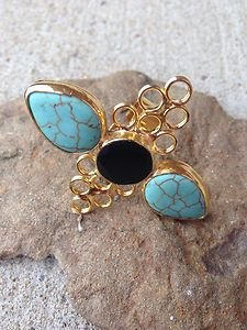 Turkish Ring~Genuine Turquoise & Onyx~24K PLATED~~NWT~BEAUTIFUL~Made in Turkey
