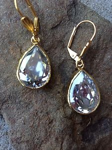 Turkish Earrings Teardrop Crystals~~Made With Swarovski Crystals~NWT~From Turkey