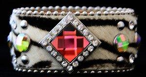 Zebra Wide Cuff Bracelet Genuine Leather & Austrian Crystal~Adjustable NWT!!