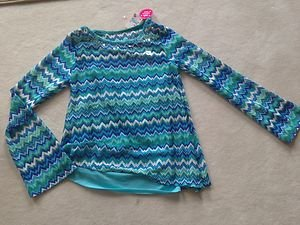 Justice Shirt Green & Blue W/ Built In tank~Girls Size 18 really CUTE~NWT~light