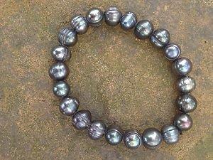 FRESHWATER PEARL BRACELET Never Worn!! Gray~Stunning!!