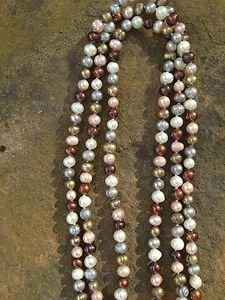 Genuine Freshwater Pearl Necklace ~Multi-Color beautiful~NEW~Never Worn! 7mm