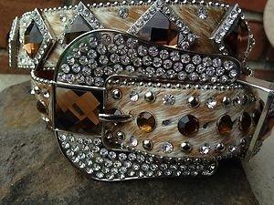 Cowgirl Bling Belt~Brown Genuine Leather~Hair On Hide~ & Crystal~BEAUTIFUL!! NWT