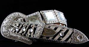 Zebra Print~Western Style Belt~Genuine Leather Hair On Hide~NWT~Austrian Crystal