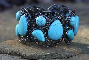TURQUOISE Jewelry~ Wide Bracelet Cuff- Pewter Tone with NWT Gorgeous!!