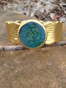 Turkish Jewelry~Cuff genuine Green Agate~Hand  Made In Turkey~GORGEOUS!! NWT!��