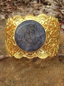 Turkish Jewelry~Cuff genuine Gray Agate~Hand  Made In Turkey~GORGEOUS!! NWT!��