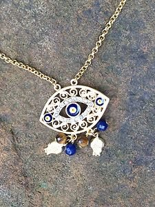 Turkish Jewelry Evil Eye Necklace~Genuine Jade And Tigers Eye~Very Unique!!