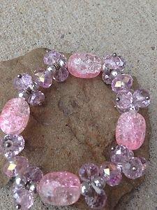 Pink Crystal STRETCH Bracelet Braceley~gorgeous!! New