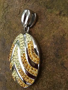 Necklace Pendant~yellows with crystal~Beautiful  For Jewelry Making!! New~