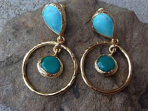 TURKISH EARRINGS~GENUINE JADE AND TURQUOISE~24K PLATED OVER BRASS~made in TURKEY
