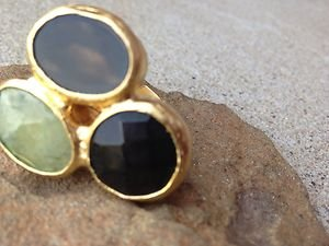 Turkish Style Triple Stone Ring~ADJUSTABLE~ONYX & Green Agate dipped in 24K Gold