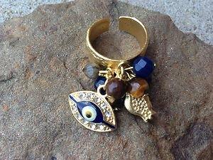 TURKISH JEWELRY EVIL EYE Charm Ring ADJUSTABLE with Genuine Semi Precious CUTE!