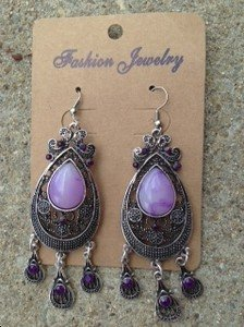 "Purple Earings Chandelier Earrings~ 3.5 inches"" VERY Pretty!  Brand New!!"