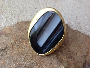 Turkish Ring with LARGE GENUINE ONYX Stone~~ Handmade In Turkey!! STUNNING!!