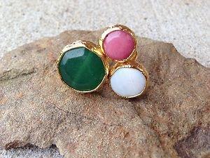Turkish~Triple Stone Ring~Genuine Jade~Hand  Made In Turkey~NWT~BEAUTIFUL Unique