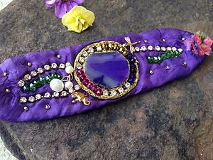 Turkish Jewelry~PURPLE SILK Bracelet~SEMI PRECIOUS STONES From Turkey~NWT