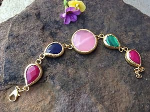 Turkish Bracelet Quartz and Jade 24k Gold Plated Over Brass~Delicate~NWT
