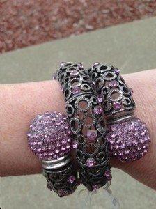 PINK Bracelet~  Embellisehed in Pink/Lavender Crystal~~VERY Beautiful!! NWOT