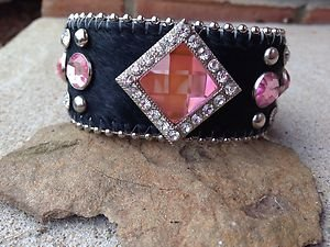 Pink Bling Wide Cuff Bracelet With Genuine Leather &  Austrian Crystal~ NWT~