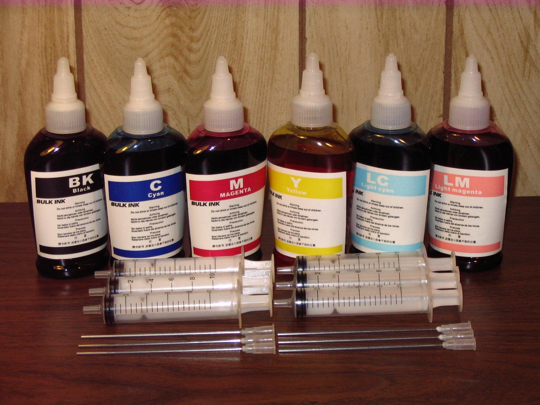 Bulk refill ink for EPSON, HP, CANON ink printer cartridge, 100ml x 6 bottles, total 600ml