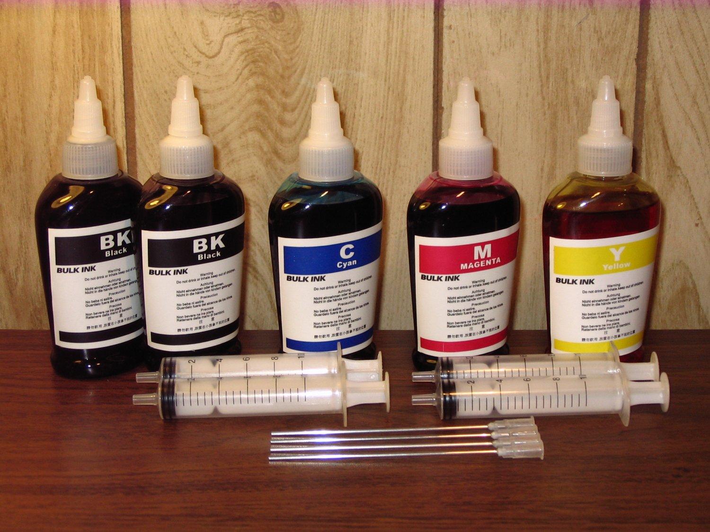 Bulk refill ink for Canon ink printer, 100ml x 5 bottles (2 Black, 1C, 1M, 1Y)