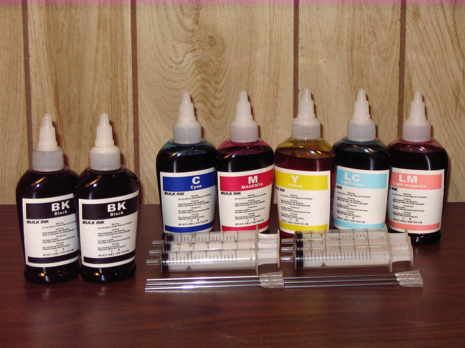 Bulk refill ink for HP ink printer , 100ml x 7 bottles (2BK, 1C, 1M, 1Y, 1LC, 1LM)