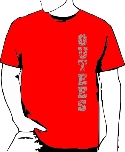 Red Outees S-XL Verticle Front Large Back Design Inside-Out