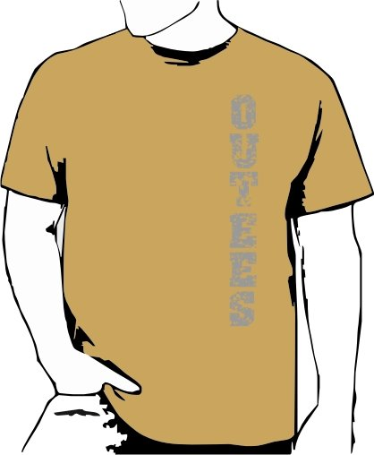 Khaki Outees S-XL Verticle Front Large Back Design Inside-Out