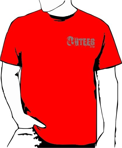 Red Outees S-XL Small Front Logo Large Back Design Inside-Out